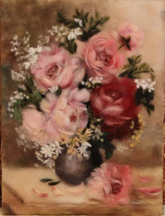 Картины цветов ручной работы. Ярмарка Мастеров - ручная работа. Купить Букет роз. Handmade. Бордовый, букет с розами, картина