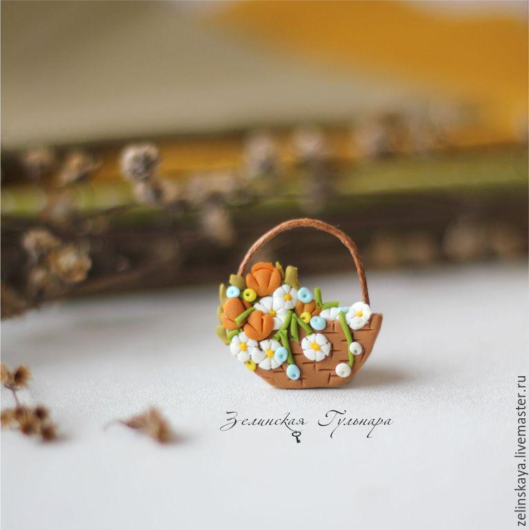 Корзинка с полевыми цветами. Брошь, Броши, Иркутск, Фото №1
