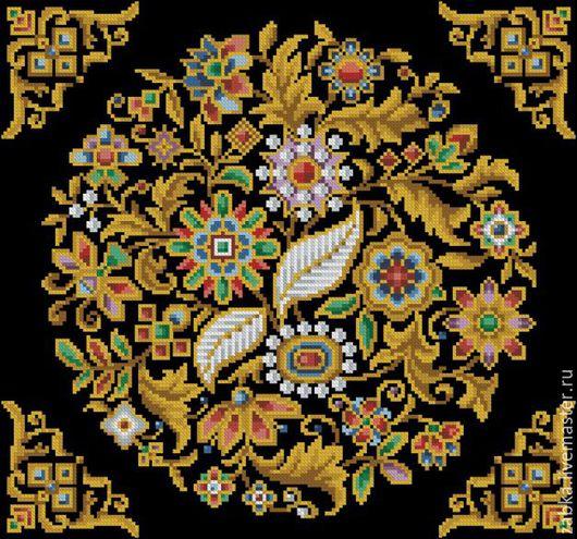 Вышивка ручной работы. Ярмарка Мастеров - ручная работа. Купить Сокровищница 2(узор для подушки). Handmade. Разноцветный, схема для вышивки крестом