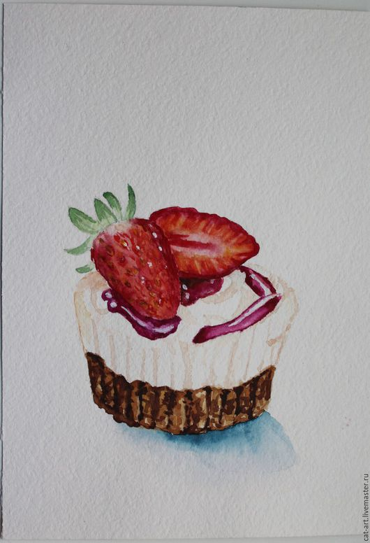 """Натюрморт ручной работы. Ярмарка Мастеров - ручная работа. Купить Акварель """"Вкусное пирожное"""". Handmade. Картина, картина в подарок"""