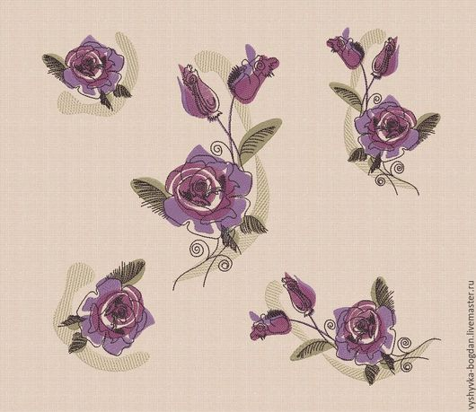 Набор дизайнов для машинной вышивки Роза bt044 разные форматы  pes hus jef dst exp vp3 vip xxx