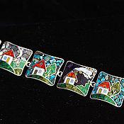 Браслет из бусин ручной работы. Ярмарка Мастеров - ручная работа Браслет,,Домики,,Мозаика. Handmade.