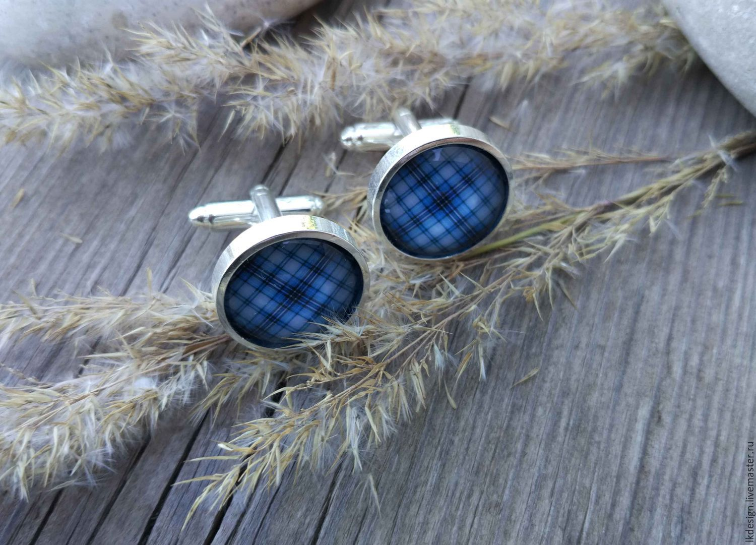 Cufflinks silver plated Cage blue (large), Cuff Links, Moscow,  Фото №1