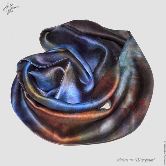 """Шарфы и шарфики ручной работы. Ярмарка Мастеров - ручная работа. Купить Мужской шелковый шарф кашне """"Цвет небесный, синий цвет"""" атлас. Handmade."""