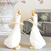Для дома и интерьера handmade. Livemaster - original item Figures couple Geese Country Provence Shabby-chic, statue of a goose. Handmade.