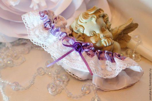 Одежда и аксессуары ручной работы. Ярмарка Мастеров-ручная работа.Купить Подвязка невесты `Purple Buff`.Handmade.Белая,сиреневая.