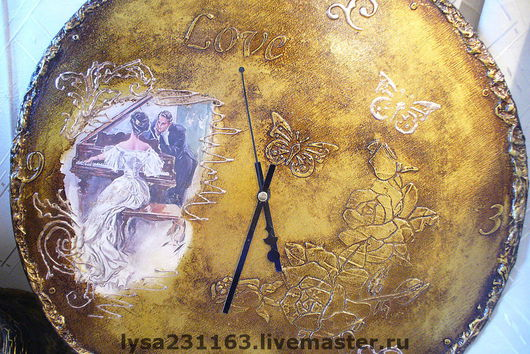 """Часы для дома ручной работы. Ярмарка Мастеров - ручная работа. Купить Часы """"Ах, любовь, любовь..."""". Handmade. Декупаж"""