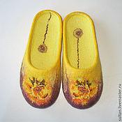 """Обувь ручной работы. Ярмарка Мастеров - ручная работа """"Осенняя роза"""", войлочные домашние тапочки. Handmade."""