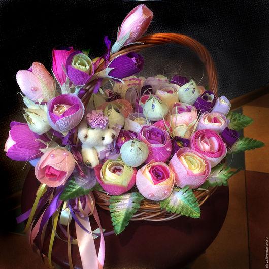 Букеты ручной работы. Ярмарка Мастеров - ручная работа. Купить Акварельные розы. Handmade. Букет из конфет, подарок для девушки