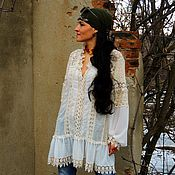 Блузки ручной работы. Ярмарка Мастеров - ручная работа Блузка-туника в стиле БОХО (30). Handmade.