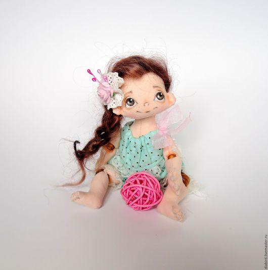 Человечки ручной работы. Ярмарка Мастеров - ручная работа. Купить Текстильная шарнирная кукла малышка. Handmade. Мятный, подарок девушке