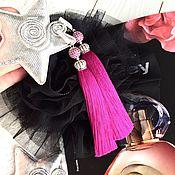 Украшения handmade. Livemaster - original item Earrings-tassels Luxury purple pink purple fuchsia silk cubic Zirconia. Handmade.