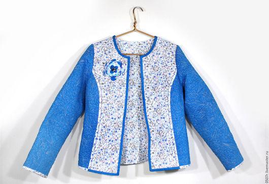 """Пиджаки, жакеты ручной работы. Ярмарка Мастеров - ручная работа. Купить Стеганый жакет """"Голубые мечты"""". Handmade. Голубой"""