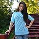 Авторский вязаный мятный летний свитер ручной работы `Aria` от Sviteroff