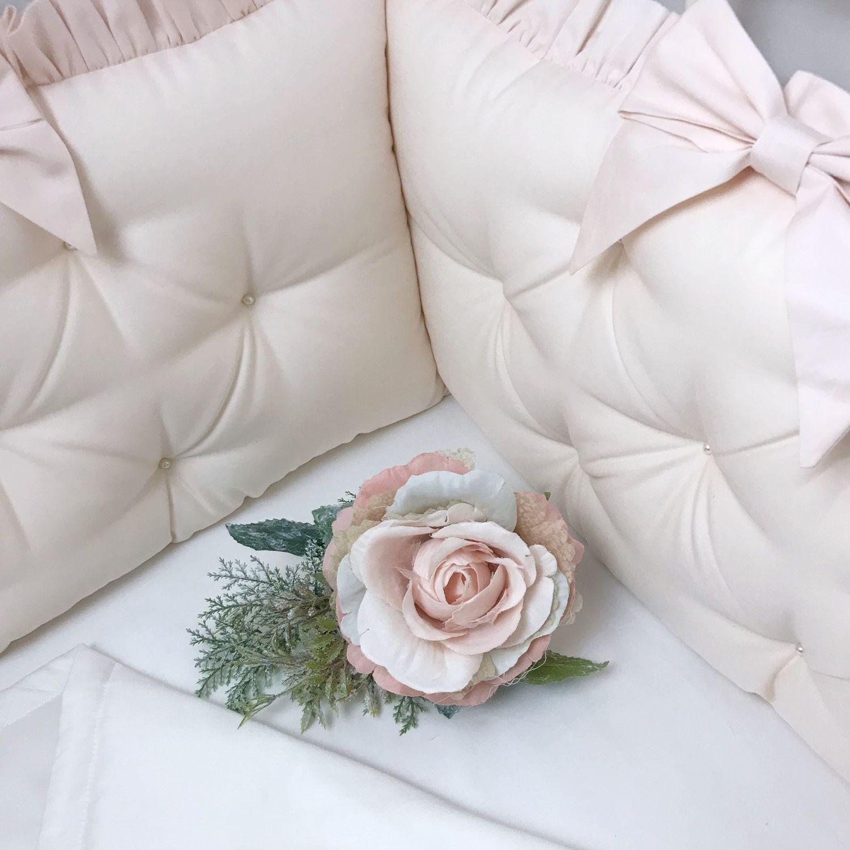 Бортики в кроватку с рюшами нежно розовые, Одеяло для детей, Москва,  Фото №1