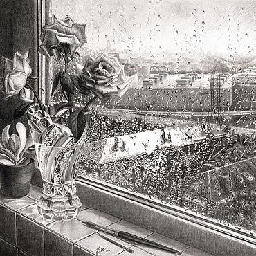 """Картины и панно ручной работы. Ярмарка Мастеров - ручная работа Картина черно белая с цветами """"Хрусталь дождя"""". Handmade."""