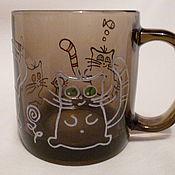 """Посуда ручной работы. Ярмарка Мастеров - ручная работа Кружка """"Три кота"""". Handmade."""