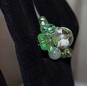 Украшения handmade. Livemaster - original item Ring with Japanese tensha bead. onyx of Calla. Handmade.