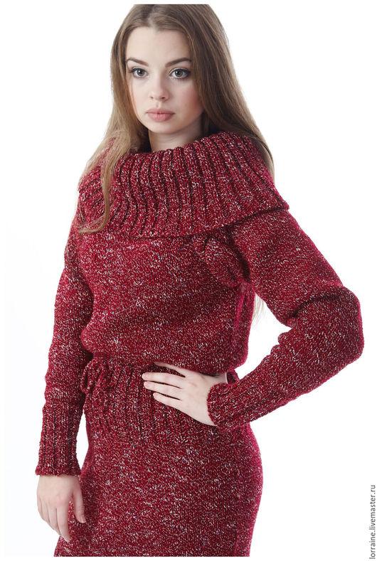 Вязаное платье, платье вязаное, трикотажное платье, платье трикотажное, платье из шерсти, шерстяное платье, платье шерстяное, бордо, теплое платье, платье теплое, зимняя одежда,бордовый, повседневное