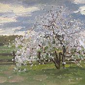 Картины и панно ручной работы. Ярмарка Мастеров - ручная работа Этюд с цветущим деревом. Handmade.