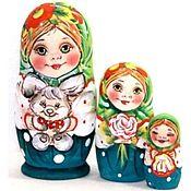 Народная кукла ручной работы. Ярмарка Мастеров - ручная работа Матрёшка Таня с зайчиком зелёная 3м 11см. Handmade.