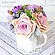 Букеты ручной работы. Заказать Винтажный букет с розами, маттиолой и брунией в молочнике. Tanya Flower. Ярмарка Мастеров. букет роз