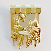 Винтаж handmade. Livemaster - original item Charming brooch IN the CAFE from AJC. Handmade.