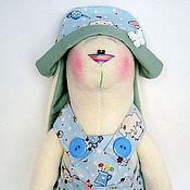 Куклы и игрушки ручной работы. Ярмарка Мастеров - ручная работа Заяц Малыш в голубом костюме (45 см.). Handmade.