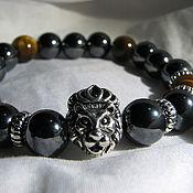"""Украшения handmade. Livemaster - original item Браслет с тигровым глазом и гематитом """"Сила льва"""". Handmade."""