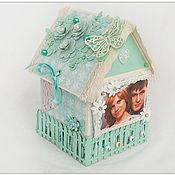 Кукольные домики ручной работы. Ярмарка Мастеров - ручная работа Коробочка-домик для денежного подарка(Тиффани). Handmade.
