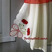 Для дома и интерьера ручной работы. Ярмарка Мастеров - ручная работа шторы для кухни с вышивкой Маки. Handmade.