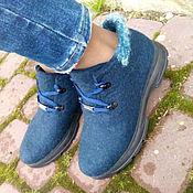 Обувь ручной работы. Ярмарка Мастеров - ручная работа Эко-кроссовки из шерсти Темносиние. Handmade.