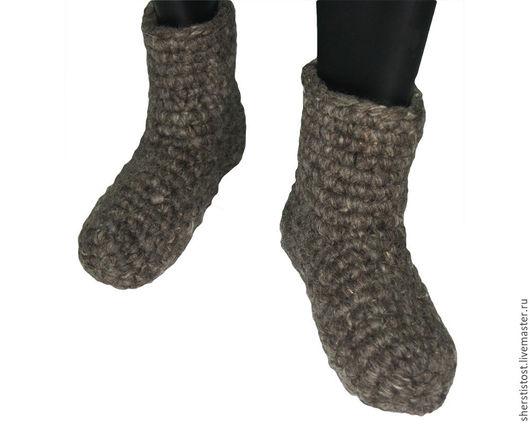 Обувь ручной работы. Ярмарка Мастеров - ручная работа. Купить Чуни из 100% овечьей шерсти вязаные -серые. Handmade. Чуни