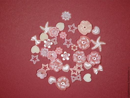 Другие виды рукоделия ручной работы. Ярмарка Мастеров - ручная работа. Купить Набор розовых декоративных элементов 50шт. Handmade.