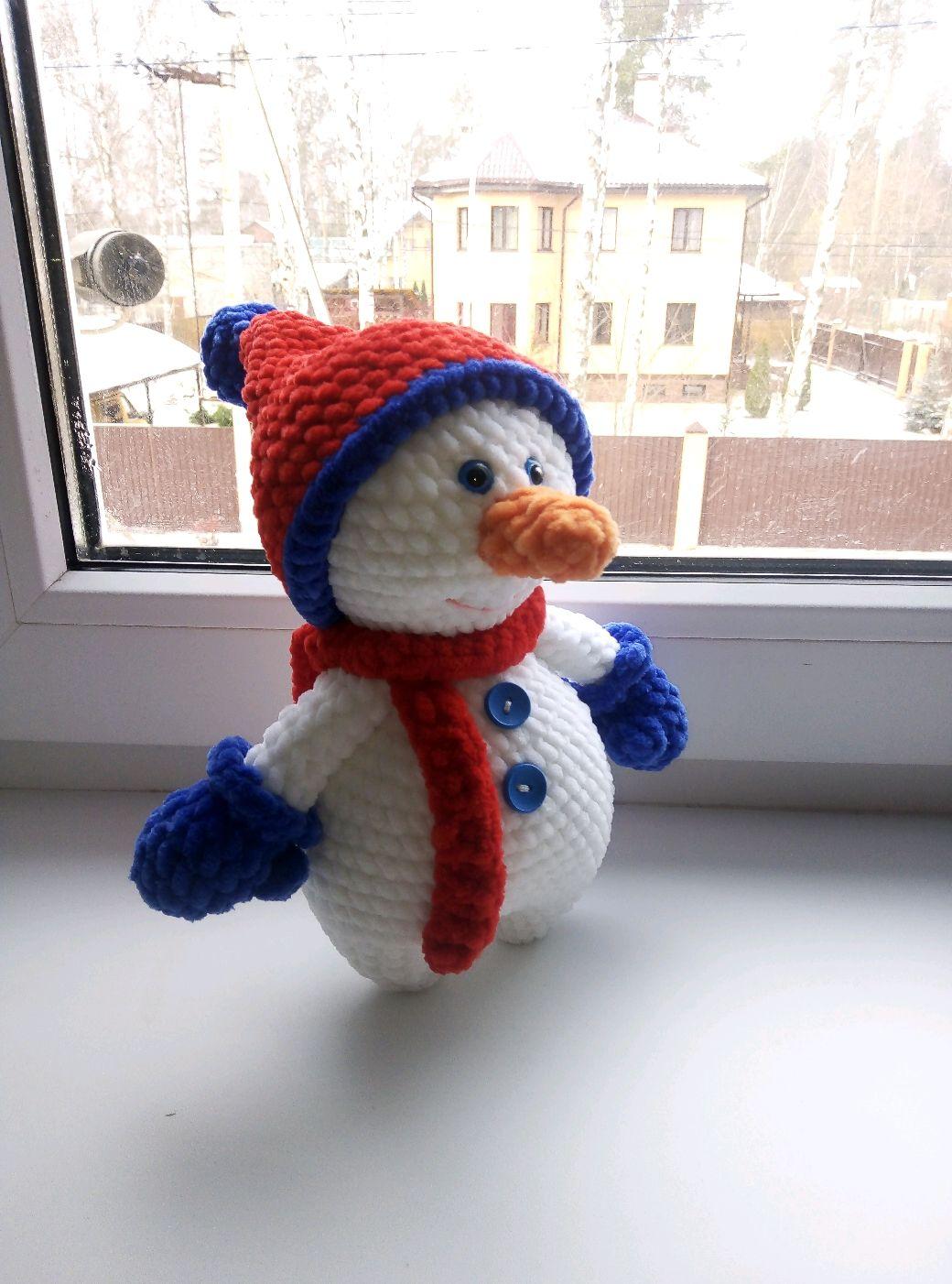 Плюшевый снеговик. Зефирный снеговик крючком. Вязаный снеговик, Мягкие игрушки, Пушкино,  Фото №1