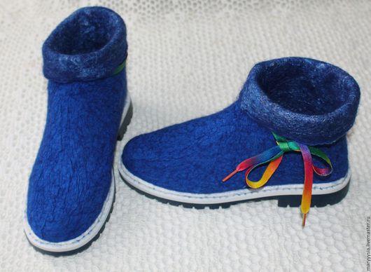 Обувь ручной работы. Ярмарка Мастеров - ручная работа. Купить ботиночки из шелка. Handmade. Синий, Валяние, подошва ТЭП