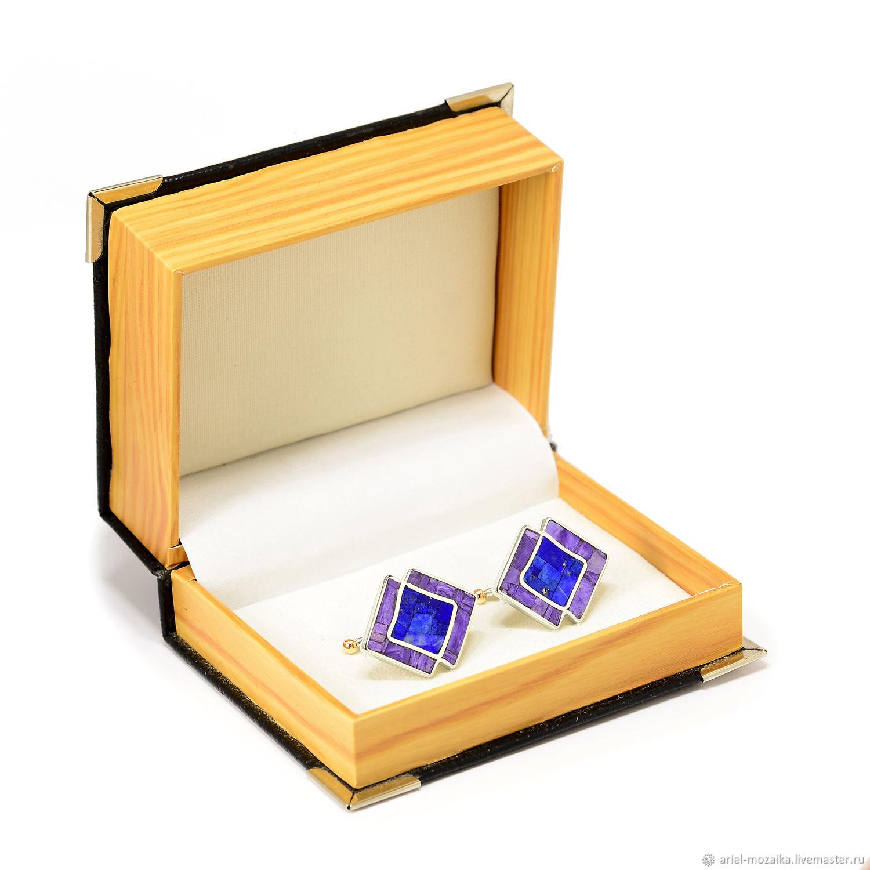 Cufflinks. Lapis lazuli and Charoite. Unique cufflinks handmade, Cuff Links, Moscow,  Фото №1