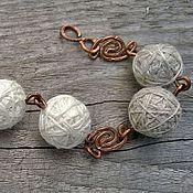 Украшения handmade. Livemaster - original item Bracelet Flax Glomeruli Wire Len Copper Boho Ethno Grey. Handmade.