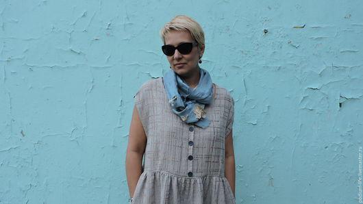 Платья ручной работы. Ярмарка Мастеров - ручная работа. Купить Платье-бохо из льна 100%  жаккардовое №7. Handmade. Серый