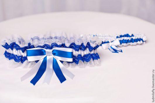 """Одежда и аксессуары ручной работы. Ярмарка Мастеров - ручная работа. Купить """"Морячка"""" - сине-белый комплект свадебных подвязок. Handmade."""
