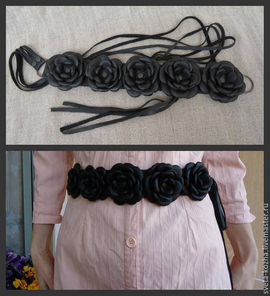 Пояса, ремни ручной работы. Ярмарка Мастеров - ручная работа. Купить Пояс кожаный с цветами. Handmade. Черный, пояс с цветком