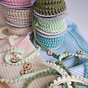 Материалы для творчества handmade. Livemaster - original item Ribbon with mini POM-POM 10 mm 5 colors.. Handmade.