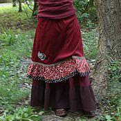 Одежда ручной работы. Ярмарка Мастеров - ручная работа Вельветовая юбочка с птицей. Handmade.