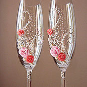 """Свадебный салон ручной работы. Ярмарка Мастеров - ручная работа Свадебные бокалы """"Розы"""". Handmade."""