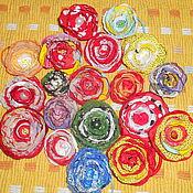 Украшения ручной работы. Ярмарка Мастеров - ручная работа Цветочки из ткани (заколка, резинка, украшение). Handmade.