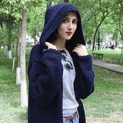 Одежда handmade. Livemaster - original item Knitted hooded coat blue. Handmade.