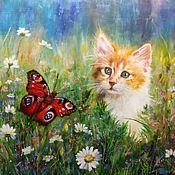 Картины ручной работы. Ярмарка Мастеров - ручная работа Мурзик и бабочка. Handmade.