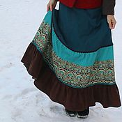 """Одежда ручной работы. Ярмарка Мастеров - ручная работа Шерстяная юбка """"Арт-деко"""" бирюзовая. Handmade."""