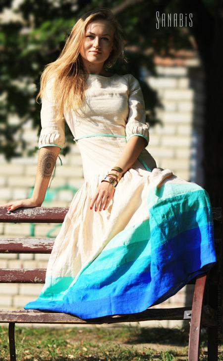 Платья ручной работы. Ярмарка Мастеров - ручная работа. Купить Платье сливочного цвета. Handmade. Платье, кремовый цвет, лён
