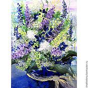 """Картины и панно ручной работы. Ярмарка Мастеров - ручная работа Картина """"Синий букет"""". Handmade."""